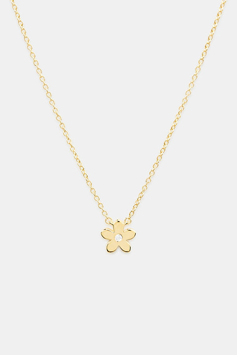 Necklace with flower and zirconia, sterling silver