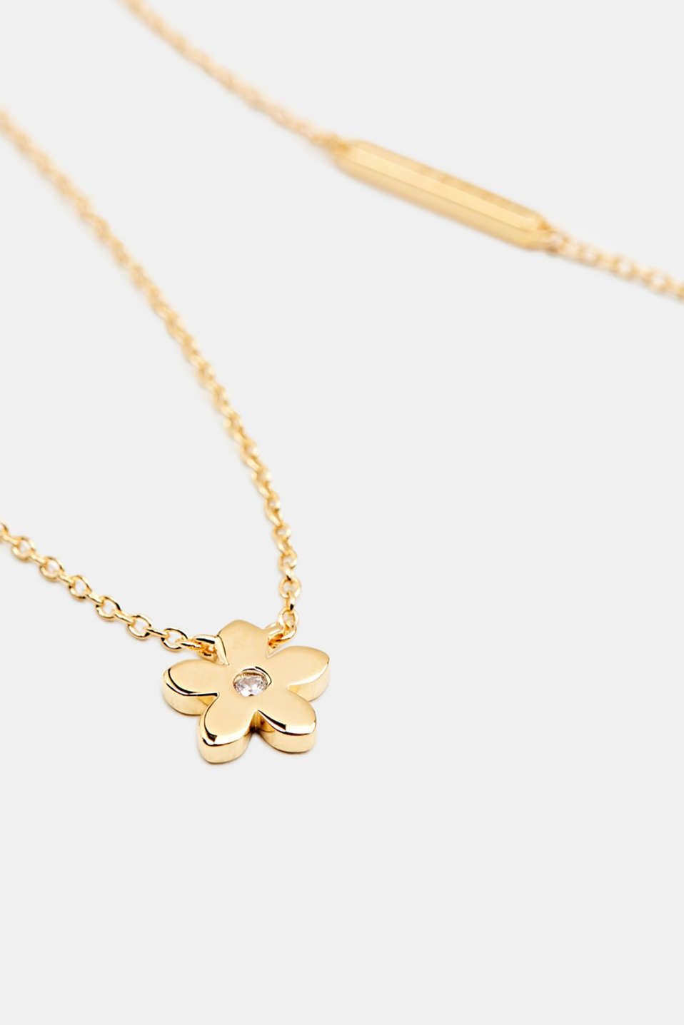 Necklace with flower and zirconia, sterling silver, LCGOLD, detail image number 1