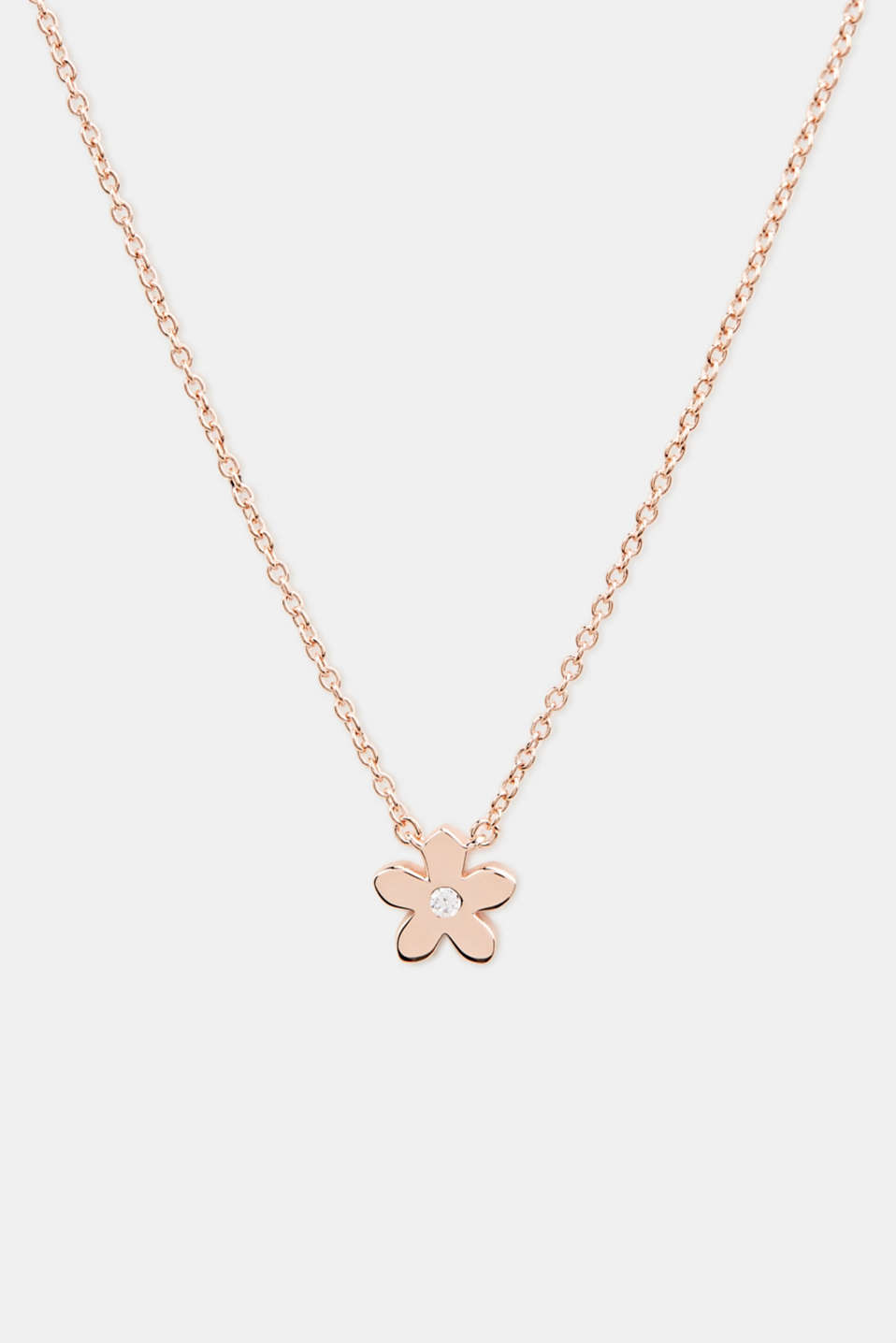 Necklace with flower and zirconia, sterling silver, LCROSEGOLD, detail image number 0