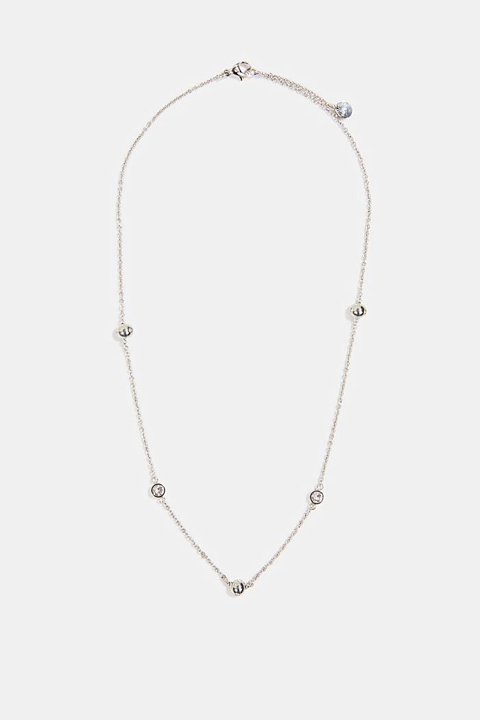 Necklace with beads and zirconia, stainless steel