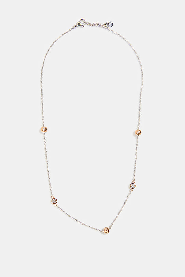 Necklace with beads and zirconia, stainless steel, ROSEGOLD, detail image number 0