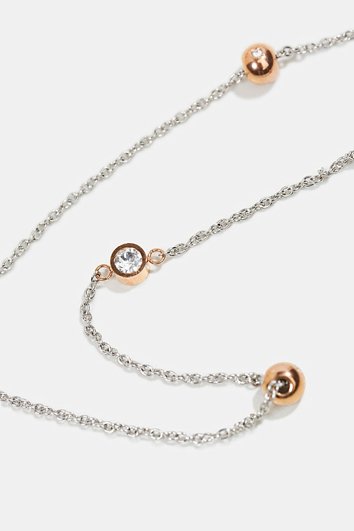 Necklace with beads and zirconia, stainless steel, ROSEGOLD, detail image number 1