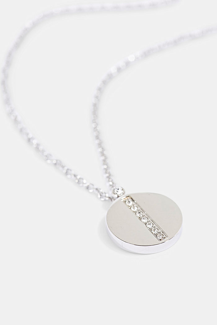 Stainless steel necklace with zirconia pendant