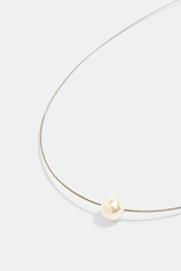 Stainless steel wire necklace with an artificial pearl, SILVER, detail image number 1