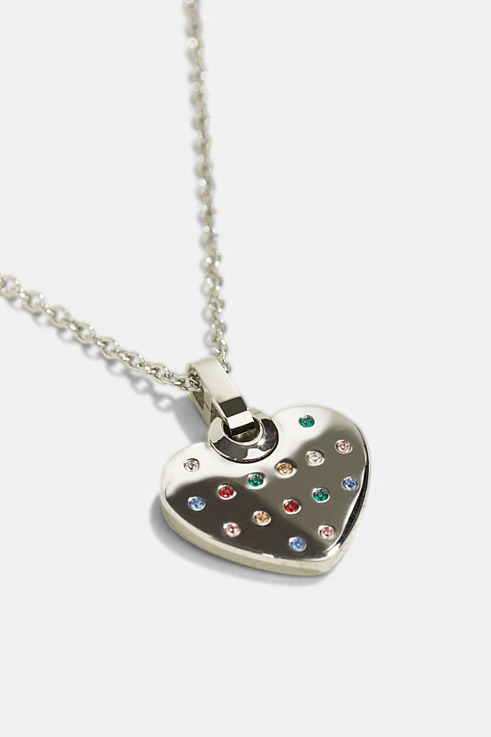 Stainless-steel necklace trimmed with colourful zirconia, SILVER, detail image number 1
