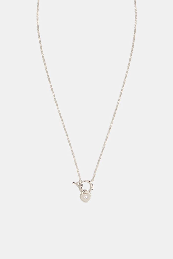 Necklace with a heart pendant, sterling silver/zirconia, SILVER, detail image number 0