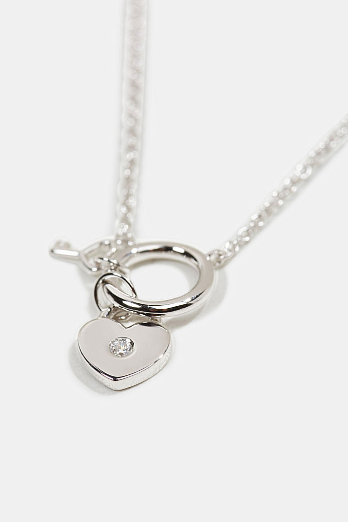 Necklace with a heart pendant, sterling silver/zirconia, SILVER, detail image number 1