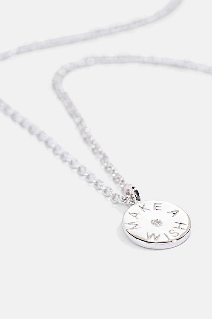 With a diamond: sterling silver necklace