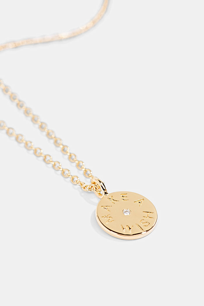 With a diamond: gold-coloured necklace made of sterling silver