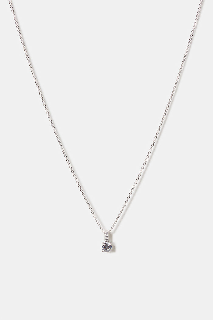 Necklace with zirconia pendant, sterling silver, SILVER, detail image number 0