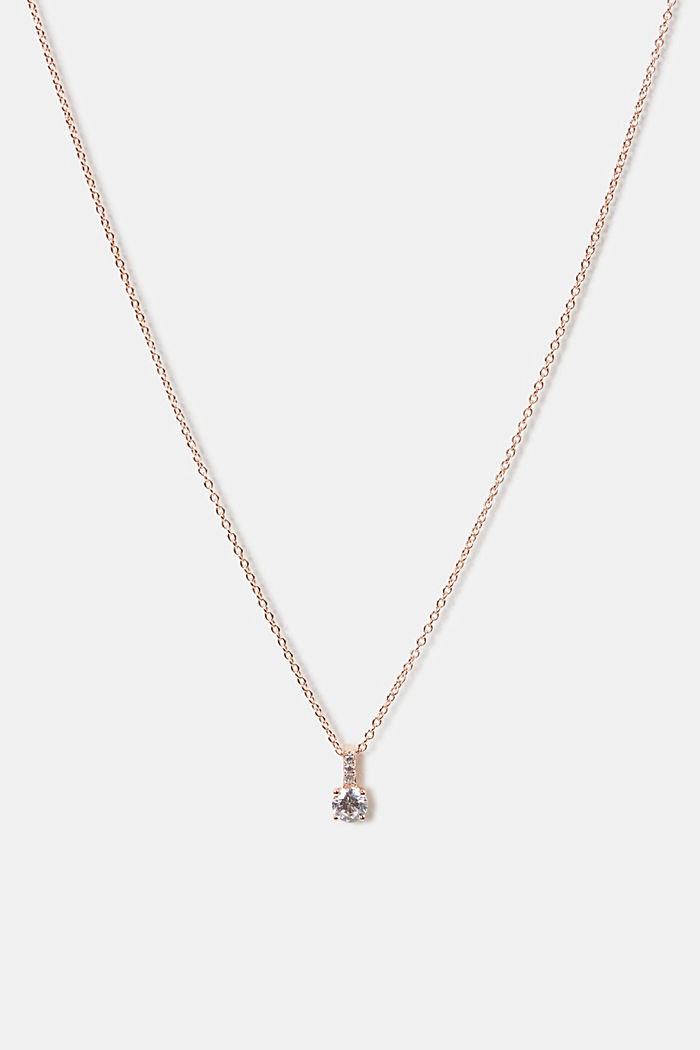 Necklace with zirconia pendant, sterling silver, ROSEGOLD, detail image number 0