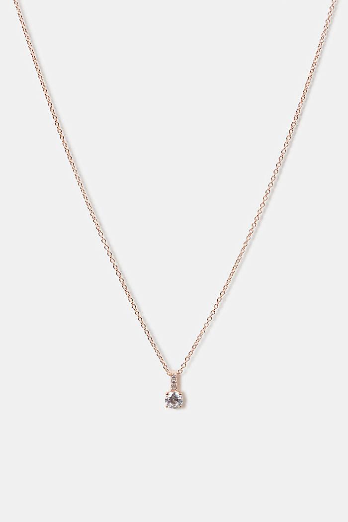 Collier à pendentif en zircone, argent sterling, ROSEGOLD, detail image number 0