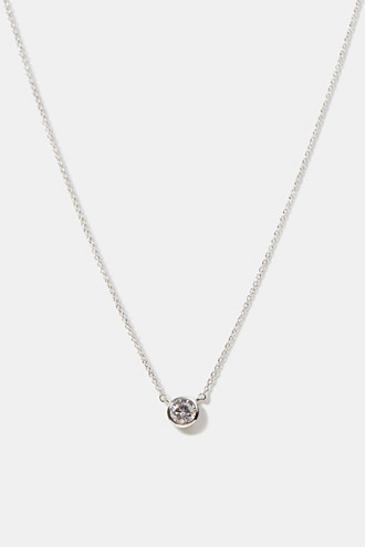 Necklace with zirconia pendant, sterling silver