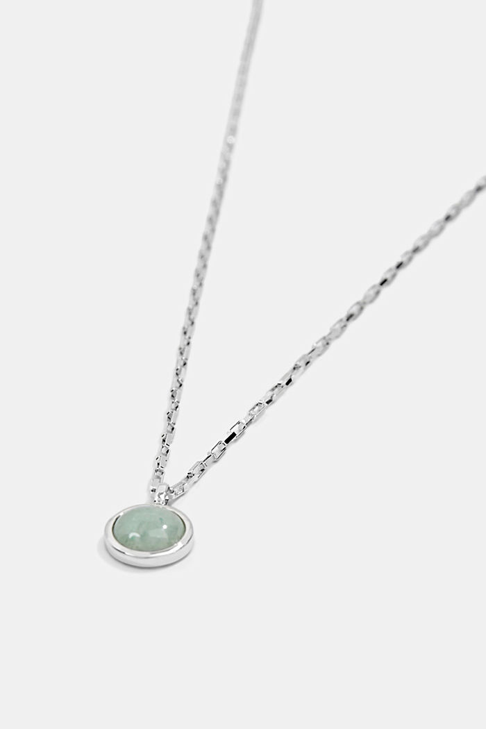 Decorative stone detail necklace, sterling silver