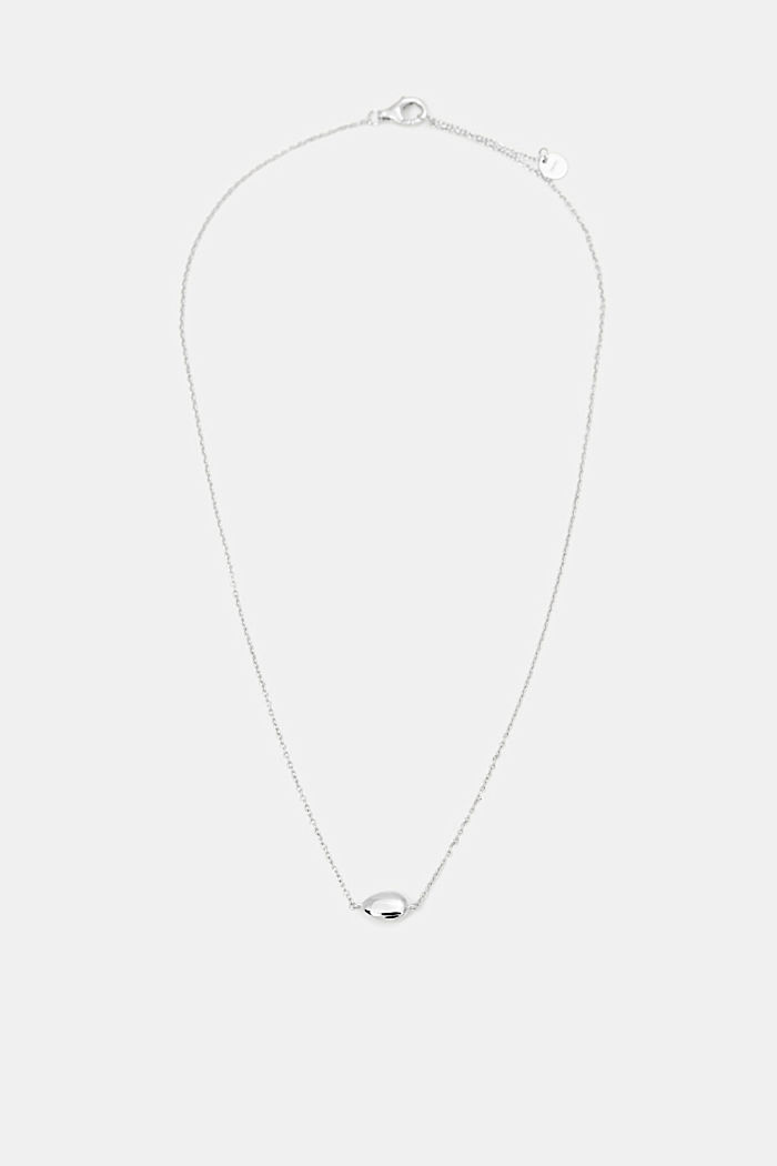 Necklace with oval pendant, sterling silver