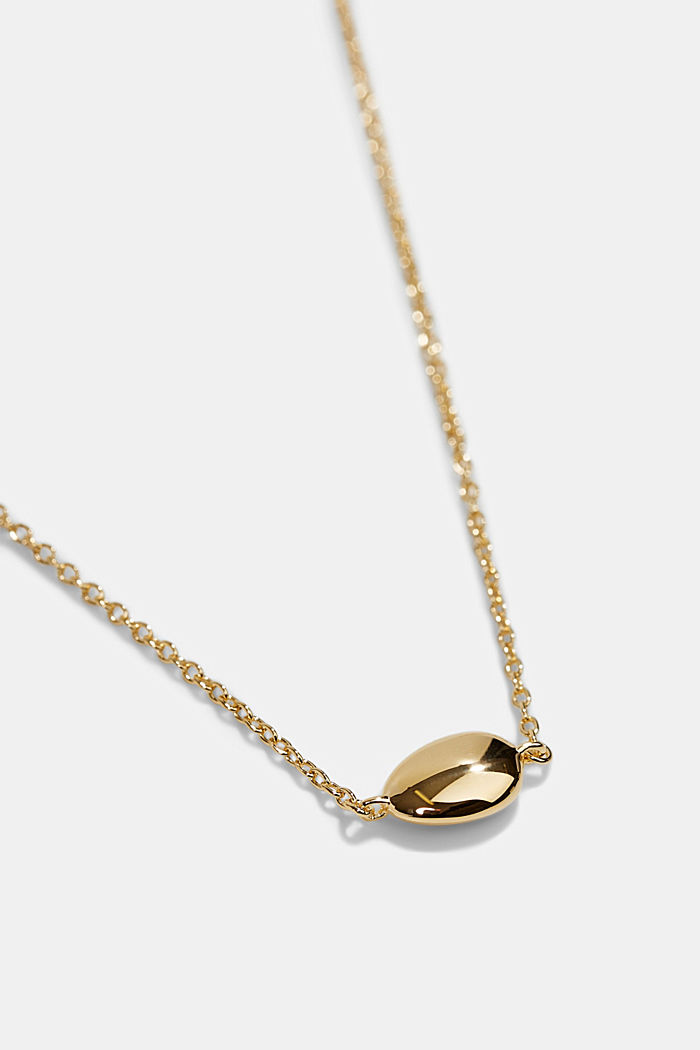 Necklace with oval pendant, sterling silver, GOLD, detail image number 1
