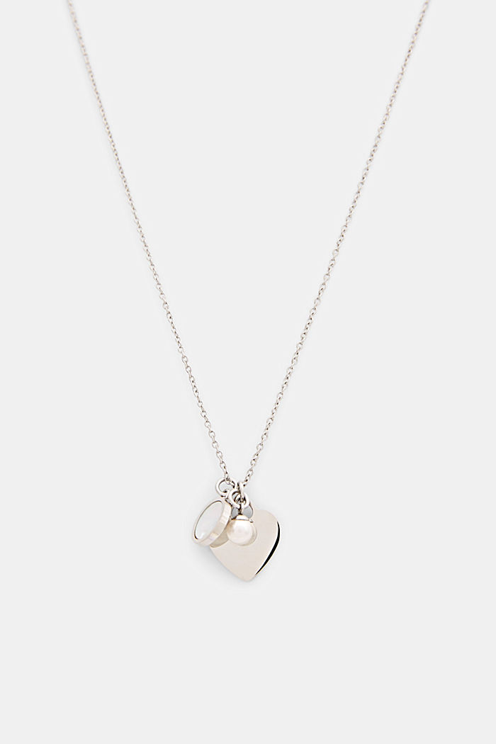 Necklace with three pendants, stainless steel and mother-of-pearl