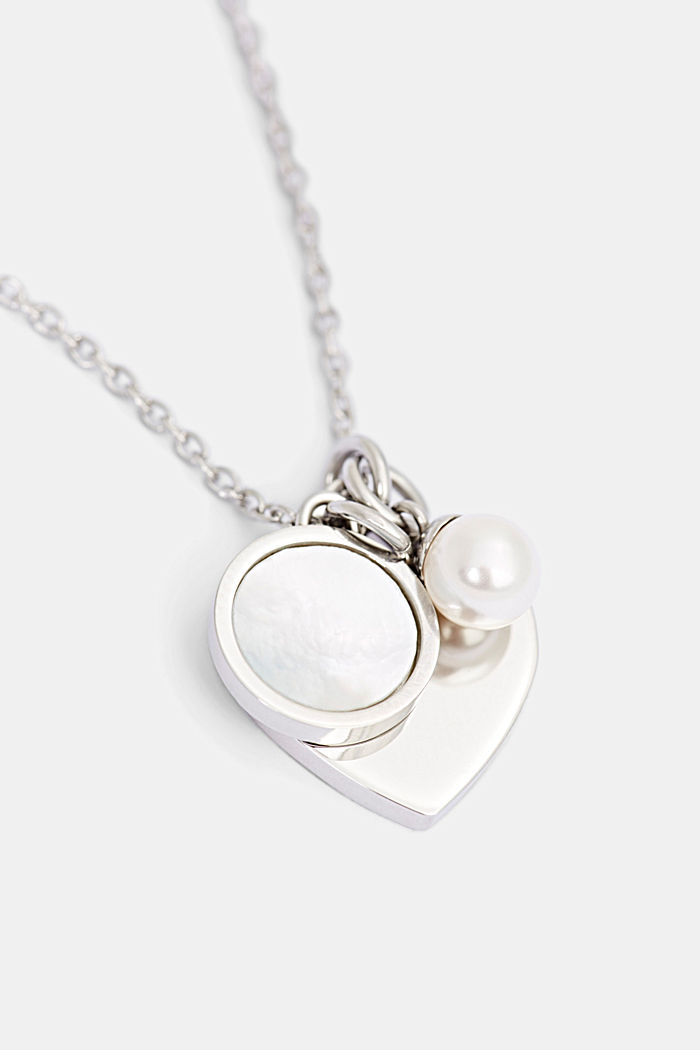 Necklace with three pendants, stainless steel and mother-of-pearl, SILVER, detail image number 1