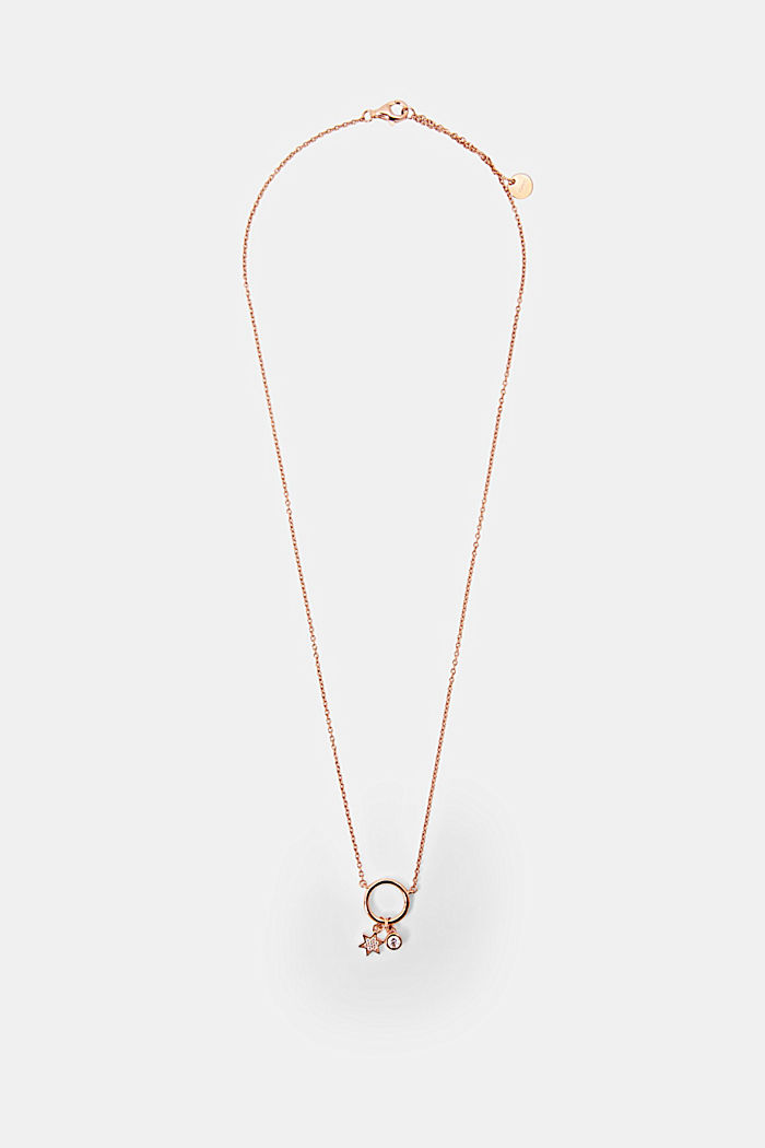 Sterling silver necklace with pendant, ROSEGOLD, detail image number 0