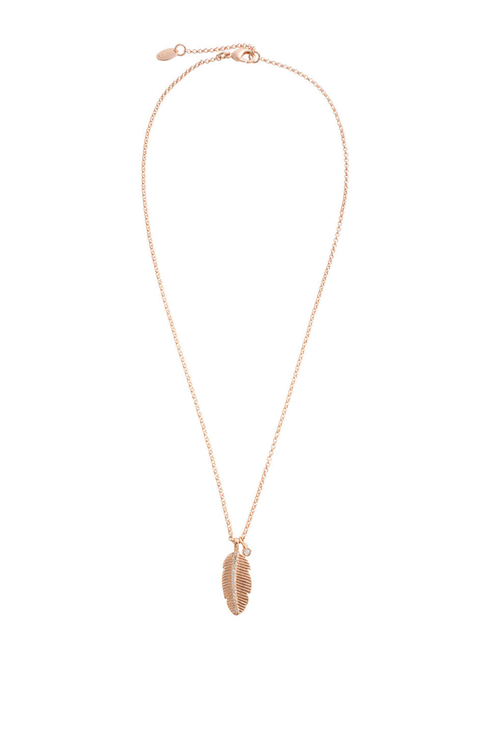 Necklace with elegant rose gold plating and two charms with sparkling zirconias