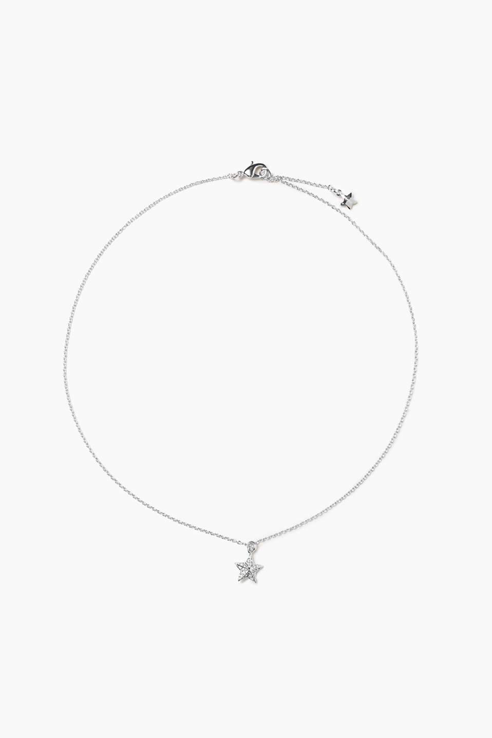 Metal / zirconia necklace with star pendant