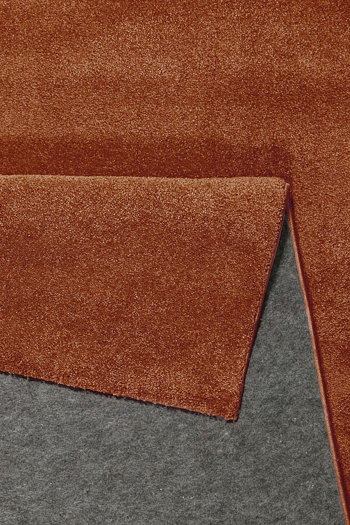 Kurzflor-Teppich in modernen uni Farben, RUST BROWN, detail image number 2