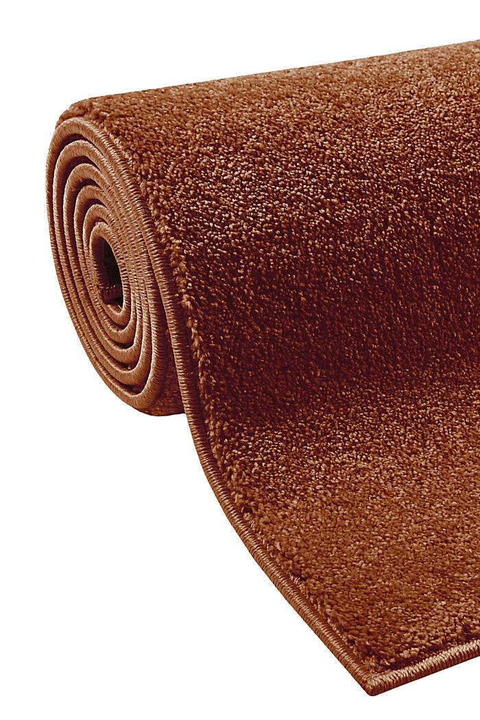 Kurzflor-Teppich in modernen uni Farben, RUST BROWN, detail image number 3