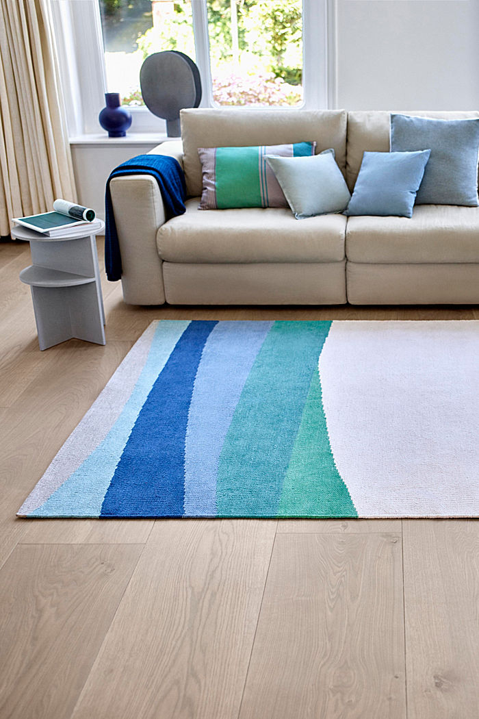 Kurzflor-Teppich mit upgecycelter Baumwolle, BLUE, detail image number 3