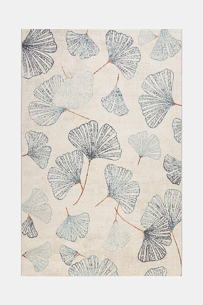 Kurzflor-Teppich mit Ginko-Blättern