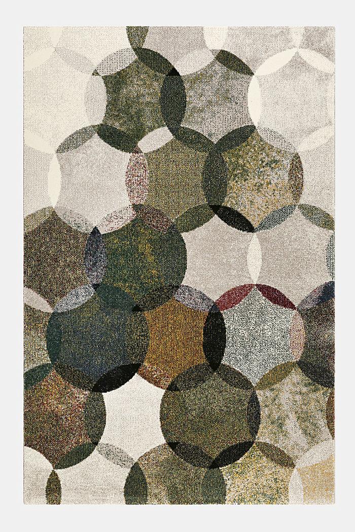 Kurzflor-Teppich mit symmetrischem Muster, OLIVE, detail image number 0