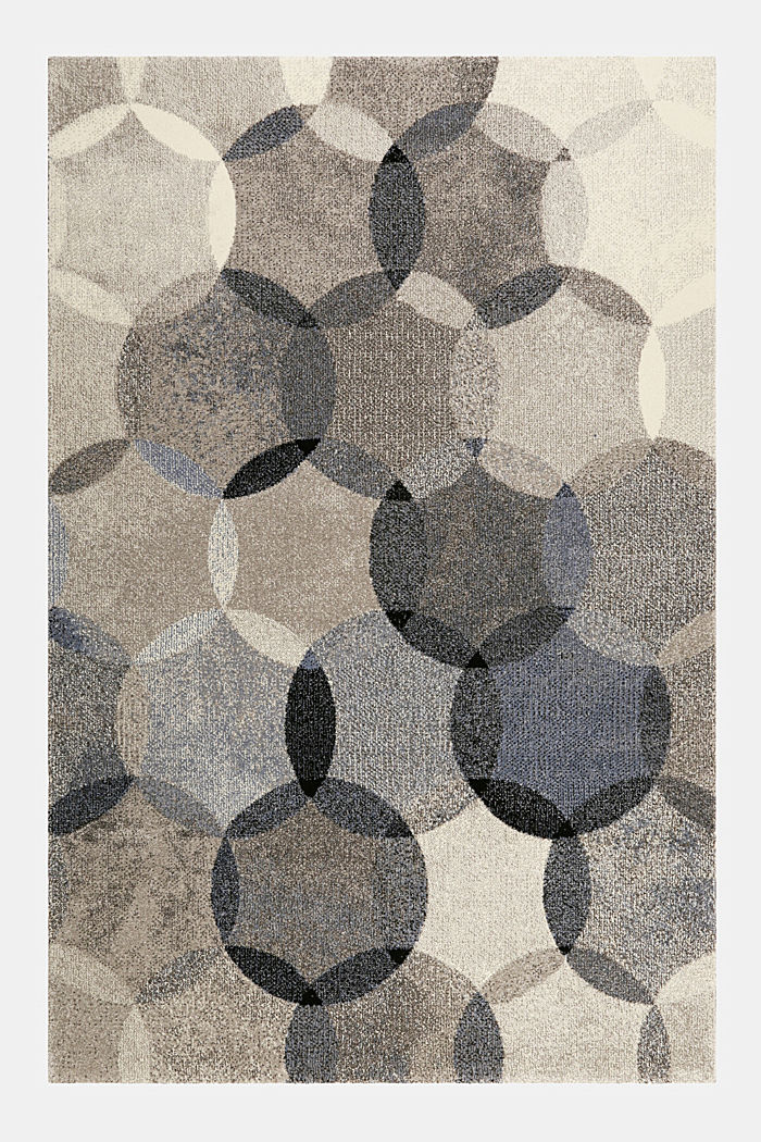 Kurzflor-Teppich mit symmetrischem Muster, BLUE, detail image number 0