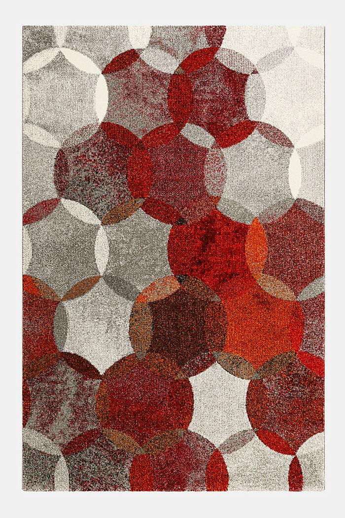 Kurzflor-Teppich mit symmetrischem Muster, ORANGE RED, detail image number 0