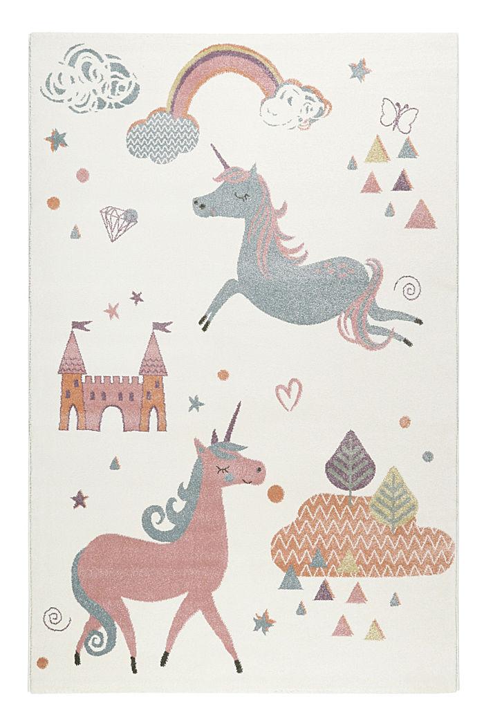 Kinder-Kurzflor Teppich mit Einhorn-Motiv, WHITE, detail image number 0