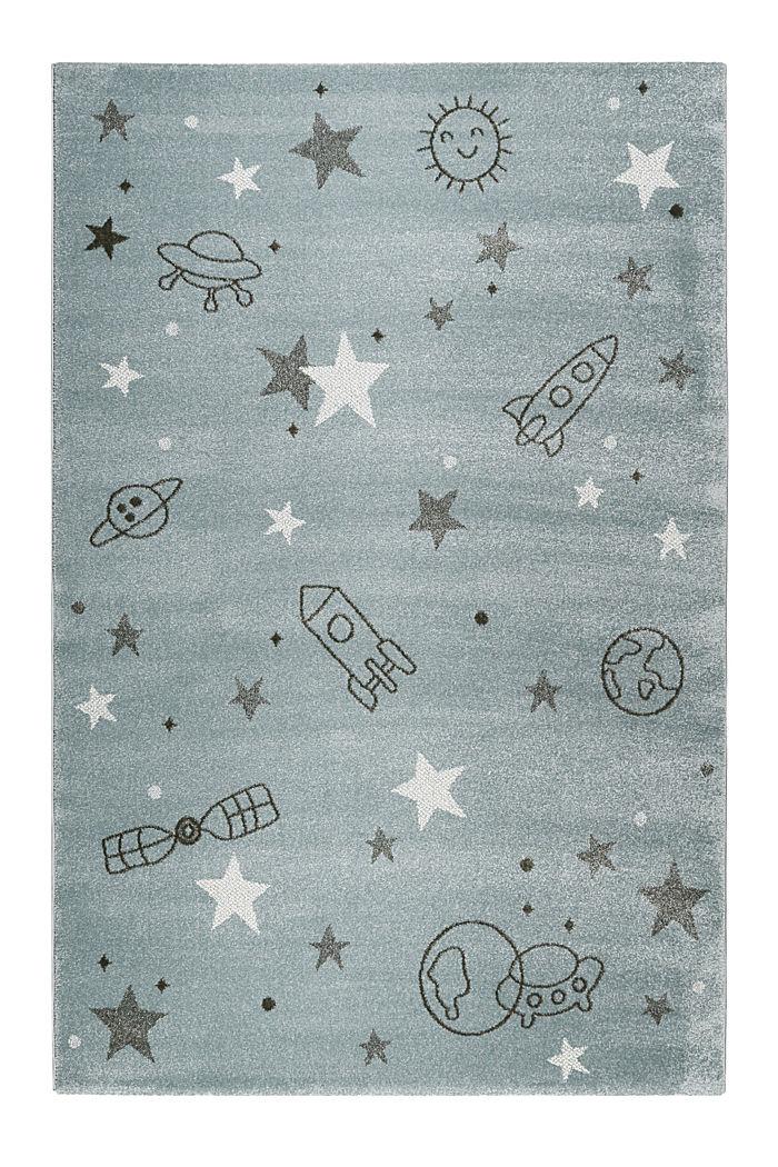 Kurzflor-Kinderteppich mit Weltraum-Muster, GREY BLUE, detail image number 0