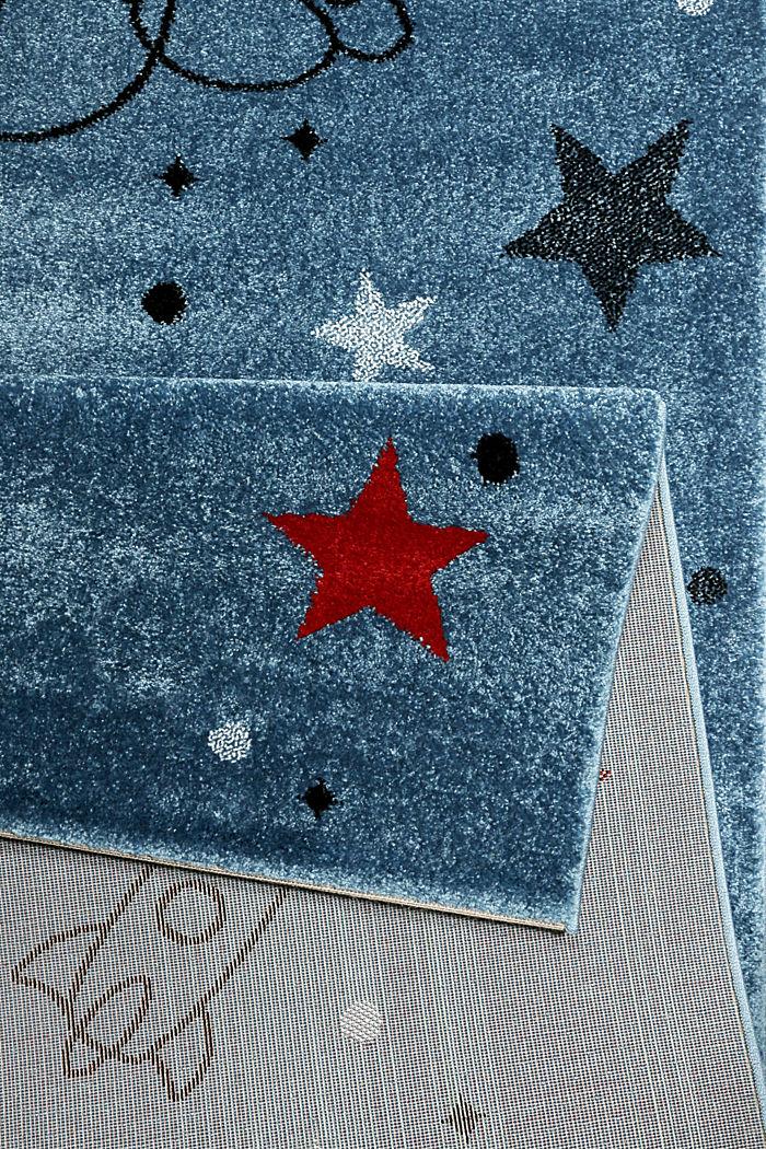 Kurzflor-Kinderteppich mit Weltraum-Muster, BLUE, detail image number 2