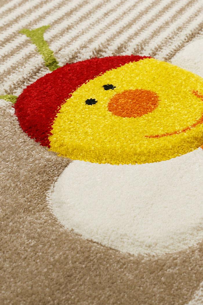 Kurzflor-Kinderteppich mit niedlichen Tieren, BEIGE, detail image number 4