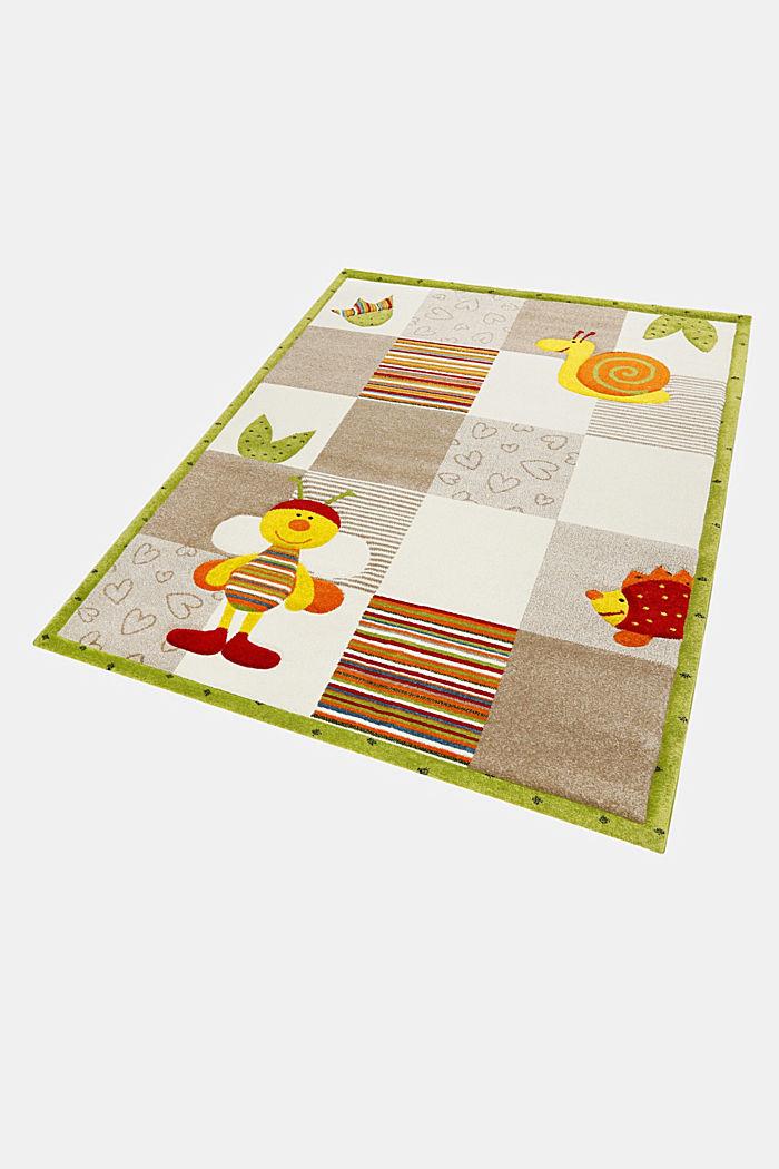 Kurzflor-Kinderteppich mit niedlichen Tieren, BEIGE, detail image number 6