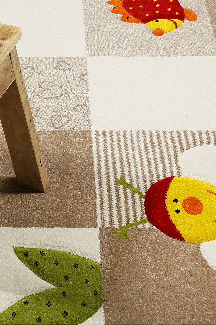 Kurzflor-Kinderteppich mit niedlichen Tieren