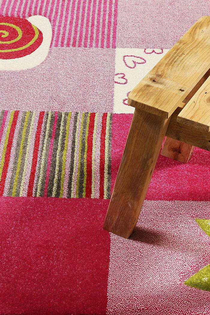 Kurzflor Kinderteppich mit niedlichen Tieren