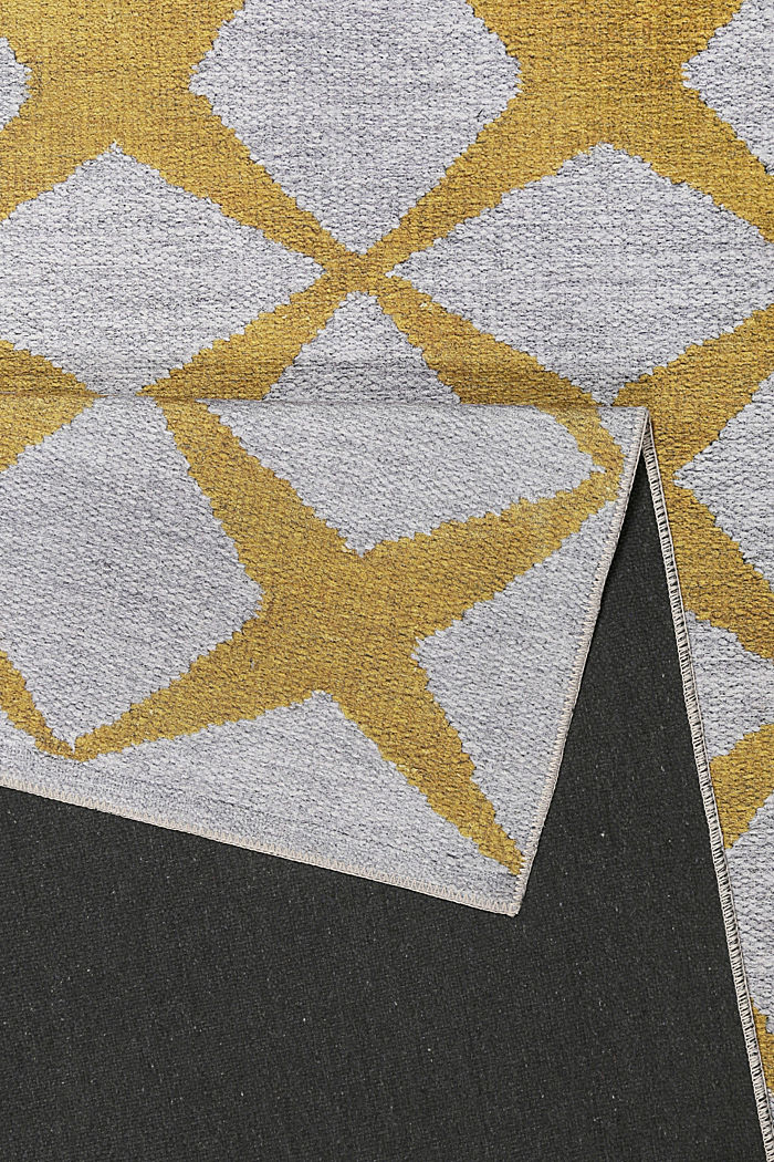 Kurzflor-Teppich mit upgecycelter Baumwolle, HONEY YELLOW, detail image number 2