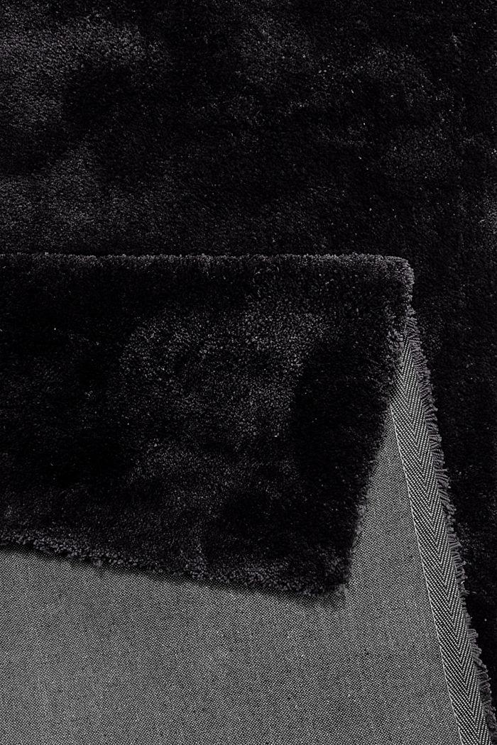 Hochflor-Teppich im unifarbenen Design, BLACK, detail image number 2