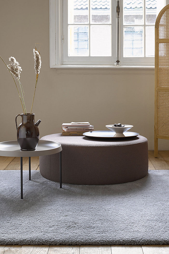 Hochflor-Teppich im unifarbenen Design, BROWN GREY, detail image number 0