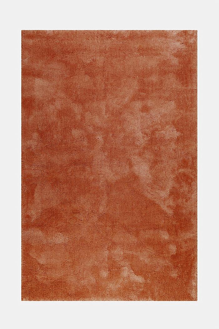 Hochflor-Teppich im unifarbenen Design, TOFFEE, detail image number 0