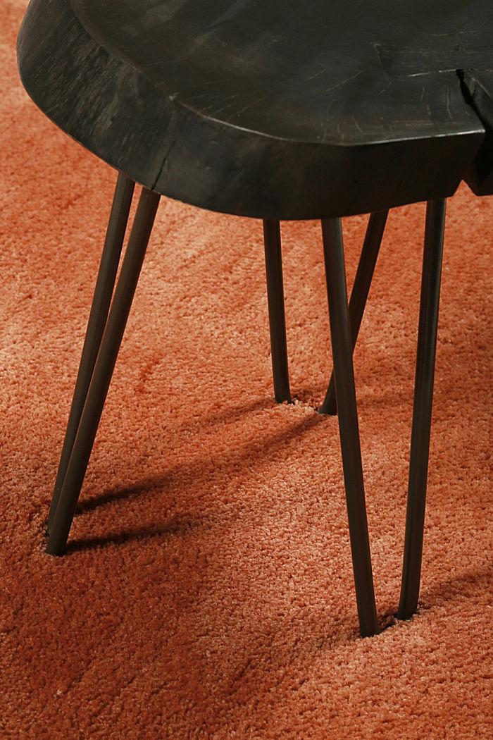 Hochflor-Teppich im unifarbenen Design, TOFFEE, detail image number 1