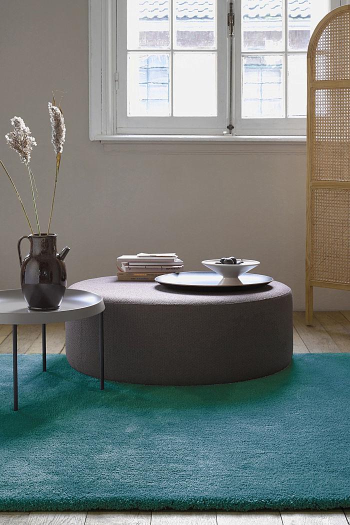 Hochflor-Teppich im unifarbenen Design, EMERALD GREEN, detail image number 0