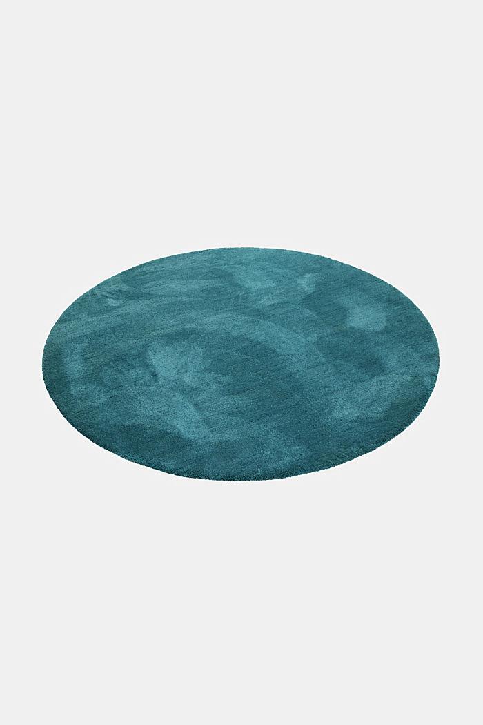 Hochflor-Teppich im unifarbenen Design, EMERALD GREEN, detail image number 3