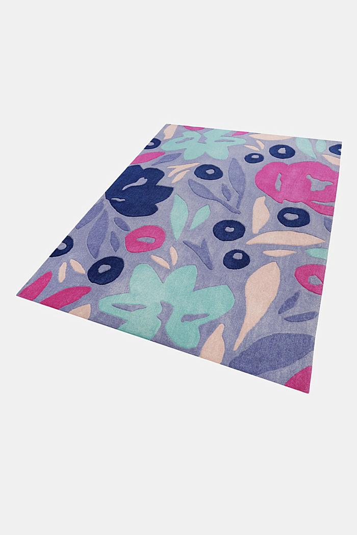 Handgetufteter Kurzflor-Teppich mit Blüten-Muster, BLUE, detail image number 4