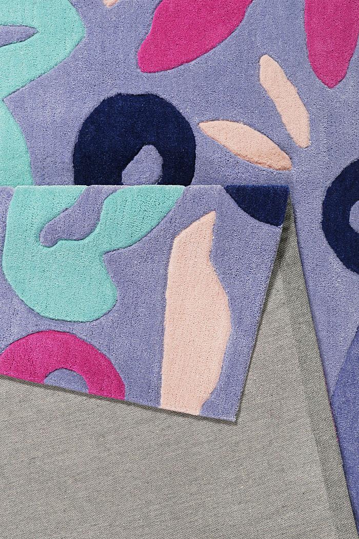Handgetufteter Kurzflor-Teppich mit Blüten-Muster, BLUE, detail image number 2