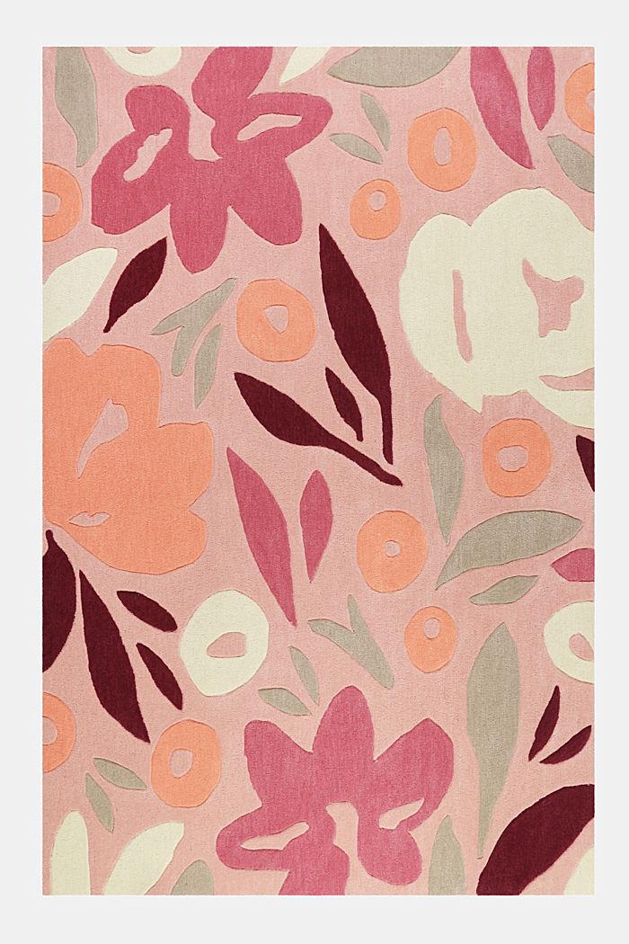 Handgetufteter Kurzflor-Teppich mit Blüten-Muster, PINK, detail image number 0