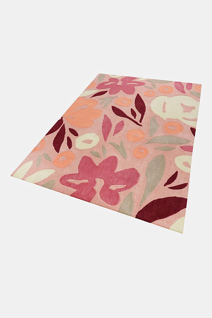 Handgetufteter Kurzflor-Teppich mit Blüten-Muster, PINK, detail image number 4